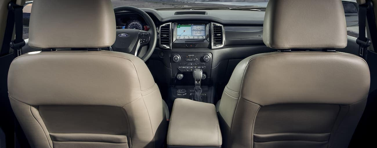 The front tan leather interior of a 2020 Ranger is shown.