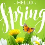 Hello Spring is shown with flowers below it.