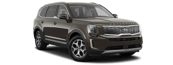 A gray 2020 Kia Telluride is angled right on a white background