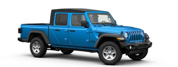 A blue 2020 Jeep Gladiator is facing right.