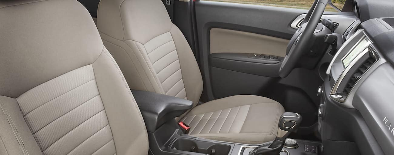 The cream interior of a 2020 Ford Ranger is shown.