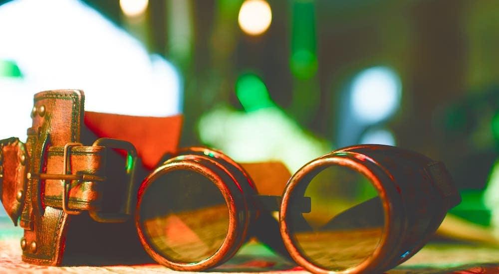 A closeup of steampunk goggles.
