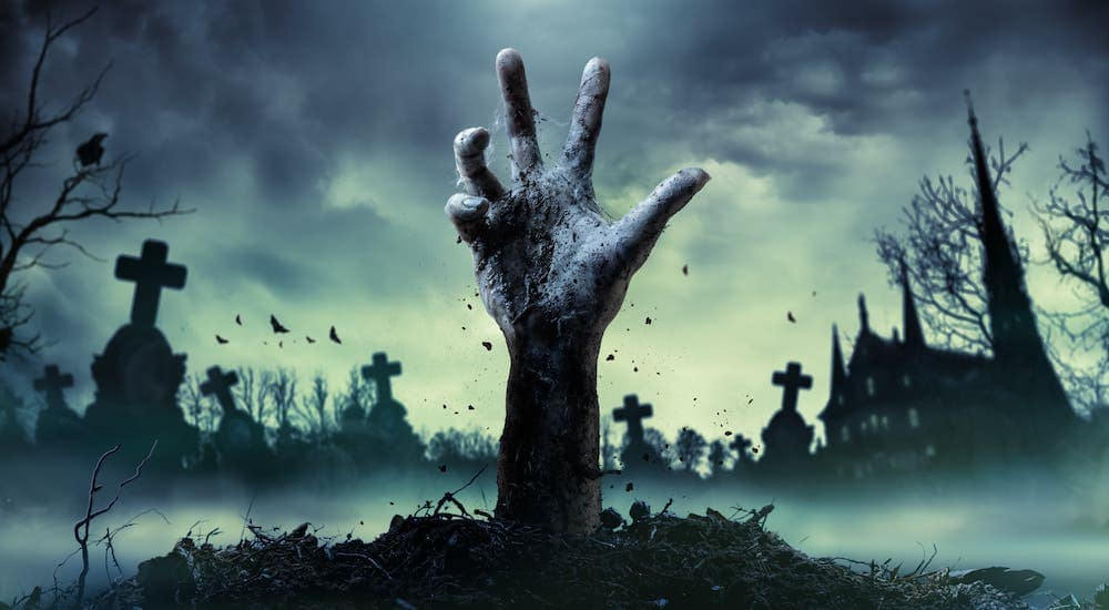 A hand is reaching up out of a Cincinnati grave.