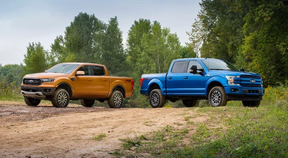 An orange Ranger and Blue F-150 are parked in the woods outside Cincinnati, OH.