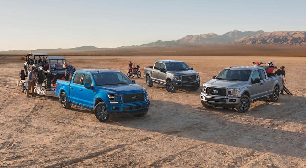 A blue, grey, and a silver 2020 Ford F-150 are parked in the desert with dirt bikes and side-by-sides.