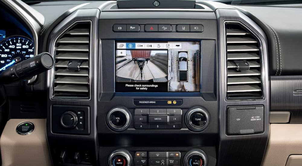 A view of the Pro Trailer Backup Assist is shown on a used Ford truck.