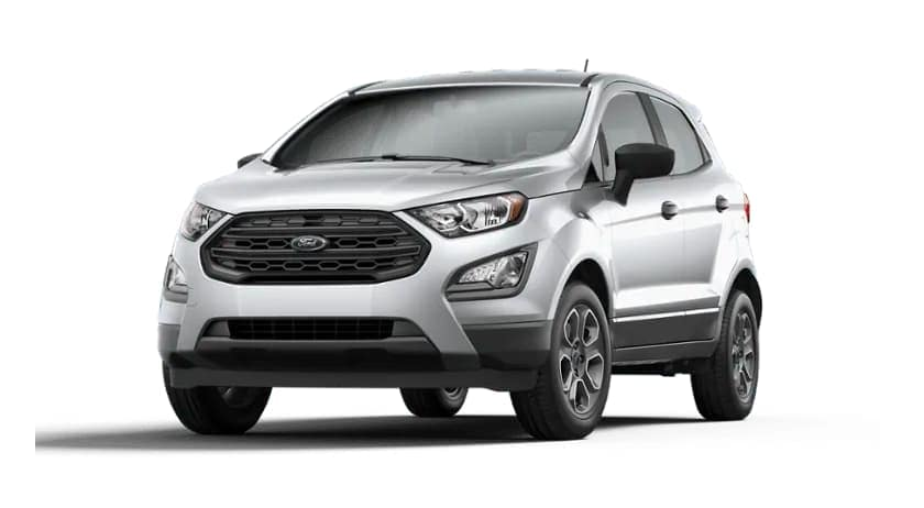 A silver 2020 Ford EcoSport is angled left on a white background.