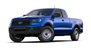 A blue 2020 Ford Ranger is angled left on a white background.