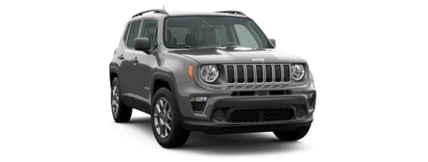 A gray 2020 Jeep Renegade is angled right on a white background.