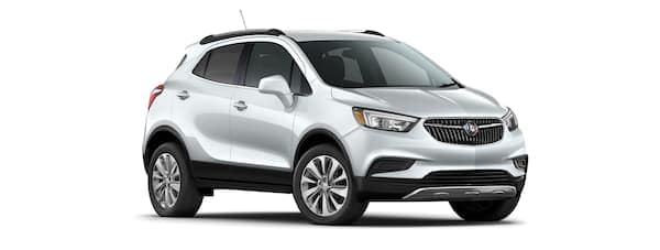 A silver 2020 Buick Encore is angled right on a white background.