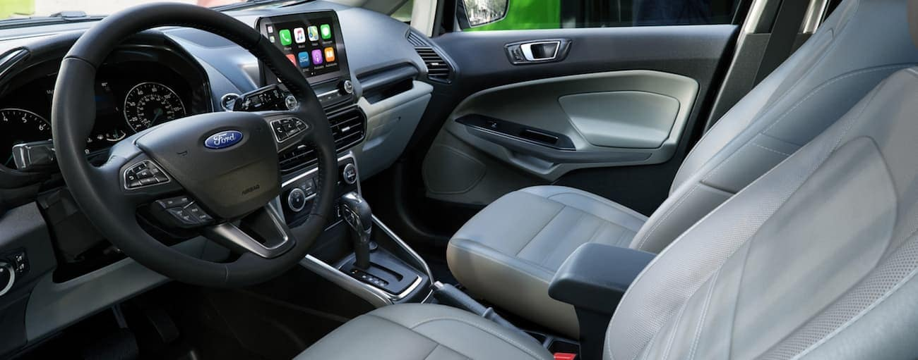 The white and black interior of a 2020 Ford EcoSport is shown.