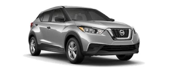 A silver 2020 Nissan Kicks is facing right.