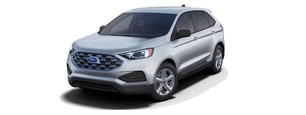 A silver 2020 Ford Edge is angled left.