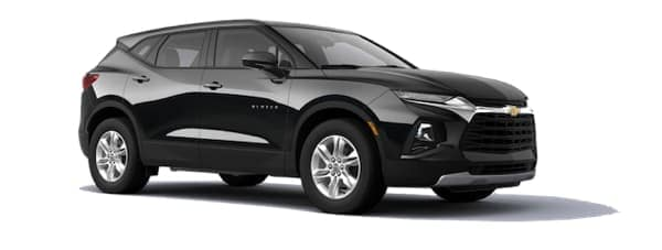A black 2020 Chevy Blazer is angled right on a white background.