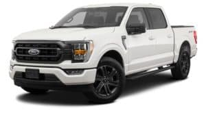 A white 2021 Ford F-150 is angled left.
