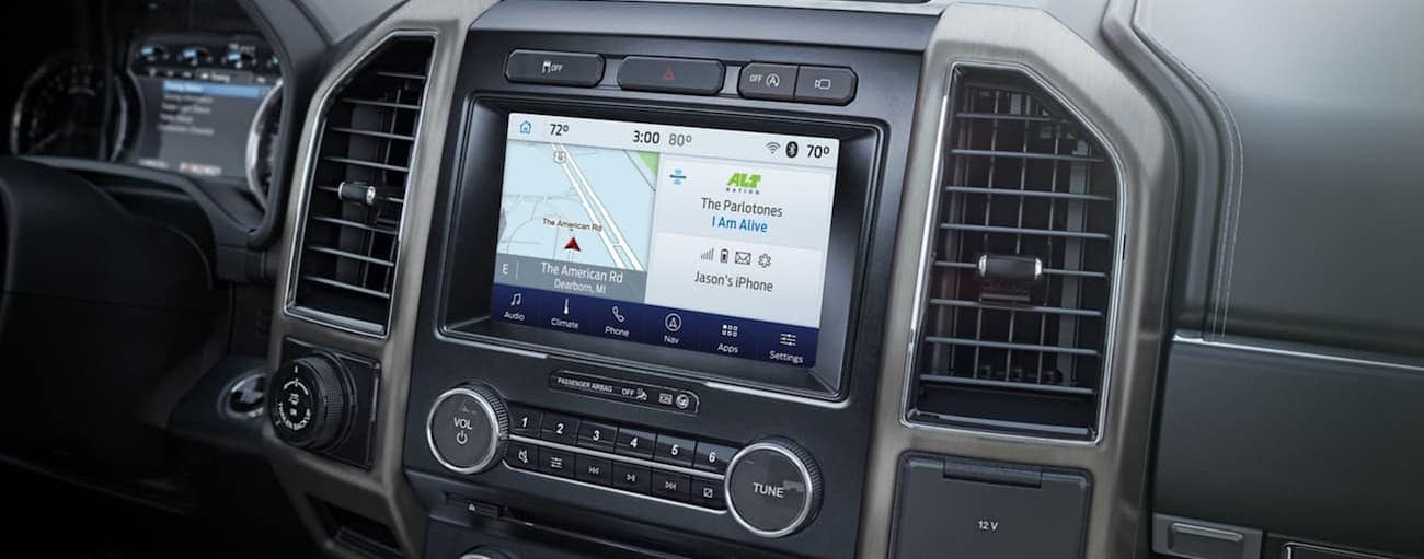 The infotainment screen in a 2020 Ford Expedition is shown.