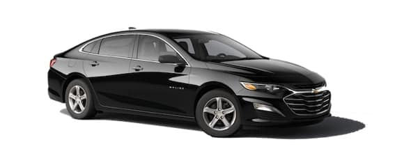 A black 2020 Chevy Malibu is facing right.