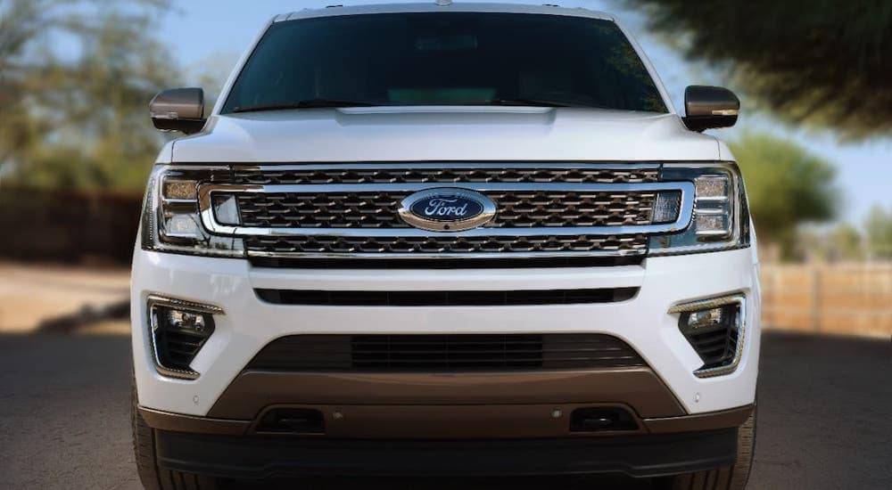 Is this the best SUV? A white 2020 Ford Expedition is shown from the front on a highway near Cincinnati, OH.
