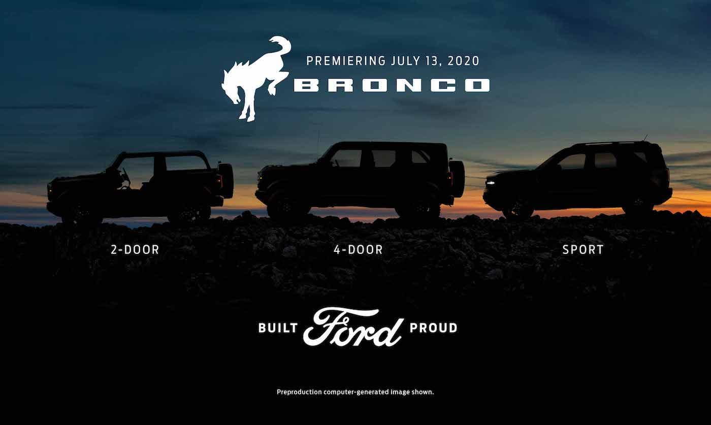 The silhouette of the new 2021 Ford Bronco