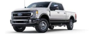 A silver 2020 Ford F-250 is angled left.