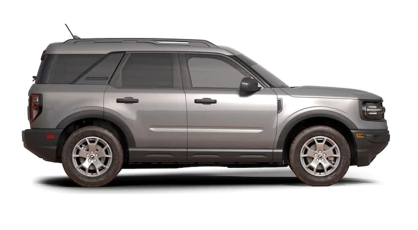 A silver 202021 Ford Bronco Sport is facing right.