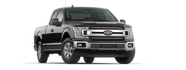 A black 2020 Ford F-150 is angled right.