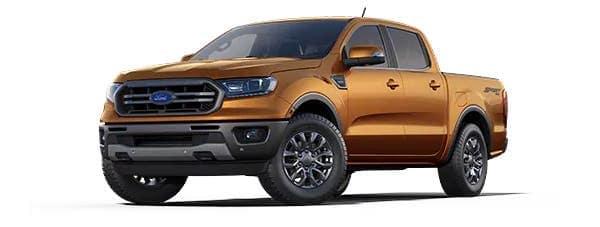 An orange 2021 Ford Ranger is angled left.