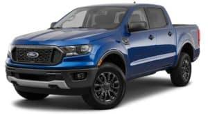 A blue 2021 Ford Ranger XLT is angled left.