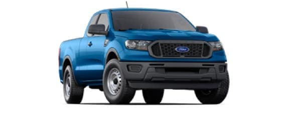 A blue 2020 Ford Ranger is angled right.