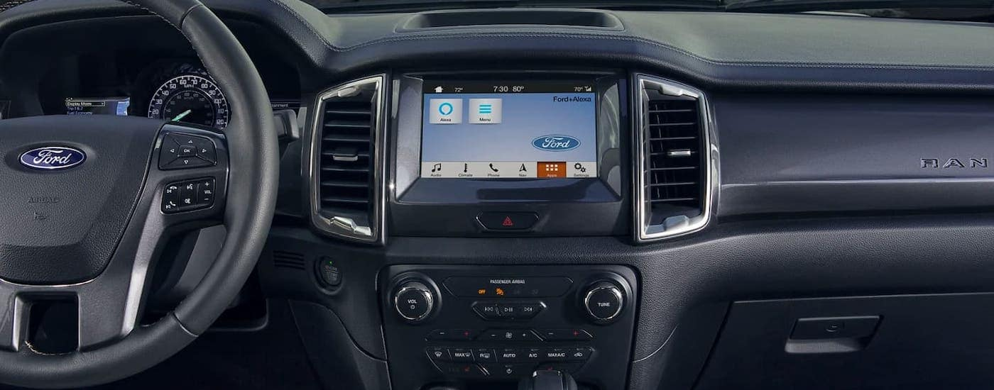 A closeup shows the infotainment screen in a 2021 Ford Ranger.