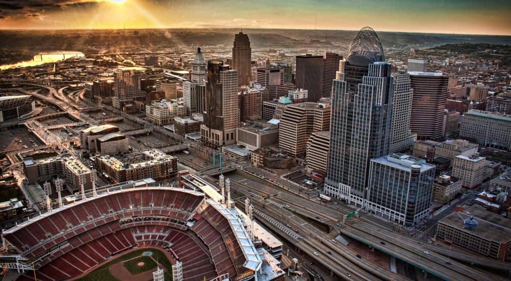 Aerial view of baseball stadium, roads, and tall buildings in Cincinnati OH