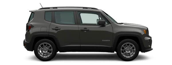 A dark gray 2021 Jeep Renegade is shown from the passenger side.