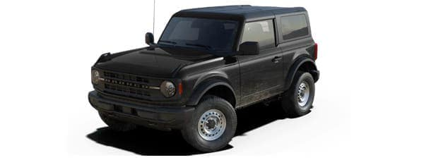 A black 2021 Ford Bronco 2-door is angled left and shown from a high angle.