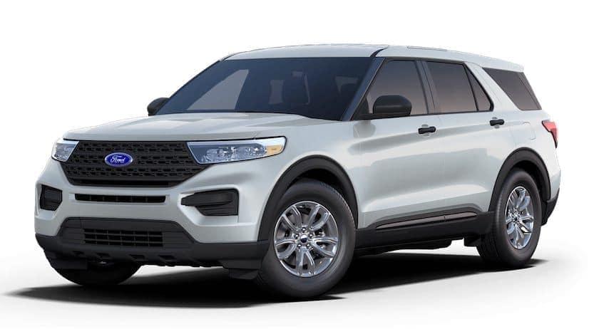 A white 2021 Ford Explorer Hybrid is angled left.