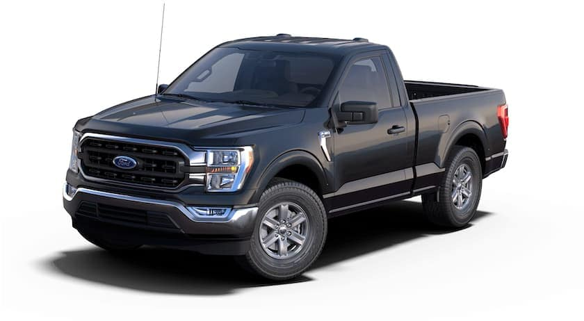 A black 2021 Ford F-150 Hybrid is angled left.