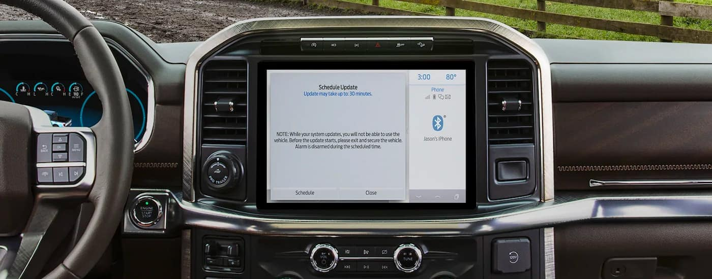 A close up is shown of the infotainment screen on a 2021 Ford F-150.