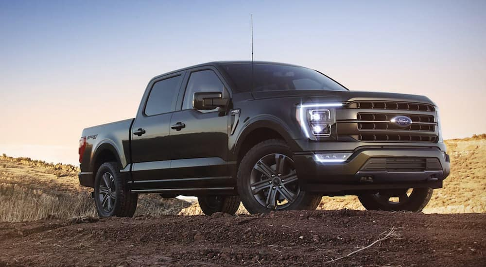 A black 2021 Ford F-150 is parked in dirt in front of a blue and yellow sky.