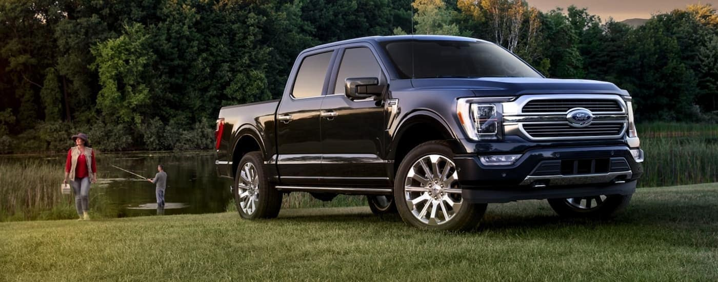 A black 2021 Ford F-150 from a Cincinnati Ford F-150 dealer is parked on grass in front of a couple fishing in a pond.