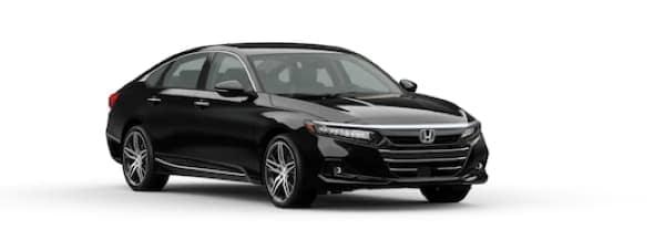 A black 2021 Honda Accord is angled right.