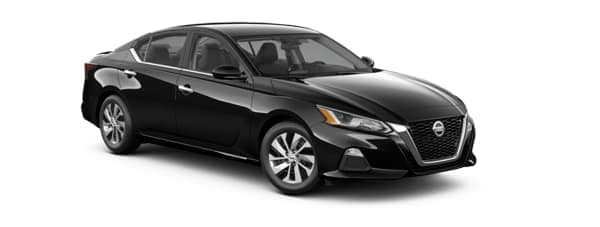 A black 2021 Nissan Altima is angled right.