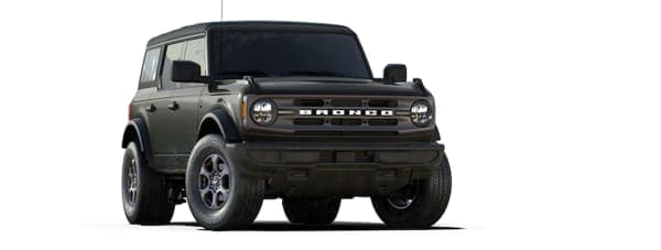 A black 2021 Ford Bronco is angled right.