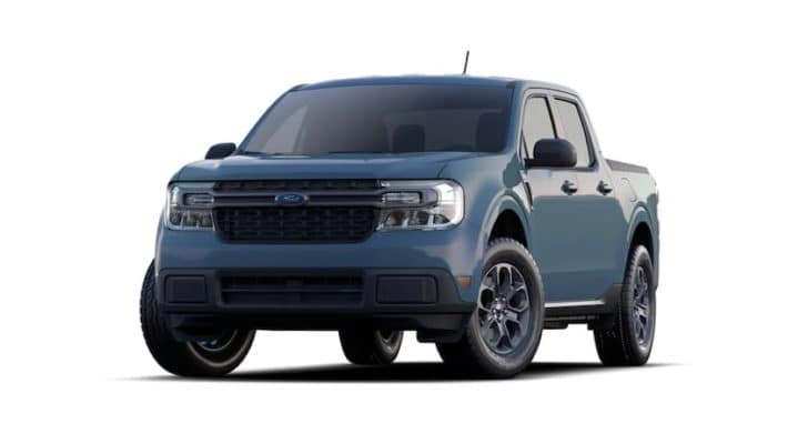 A blue 2022 Ford Maverick is angled left.