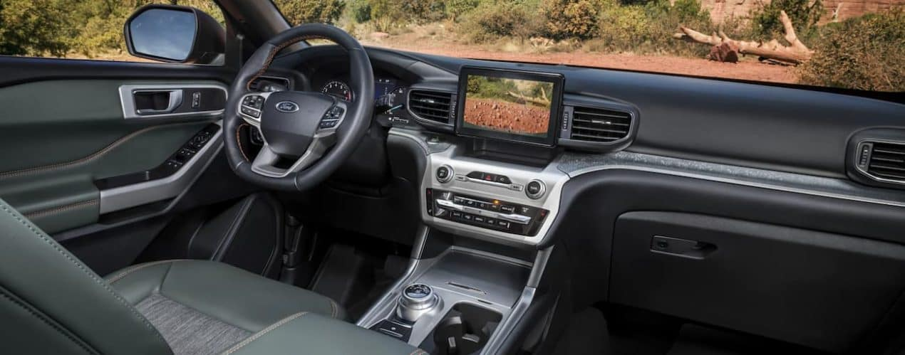 The interior of a 2021 Ford Explorer Timberline is shown.