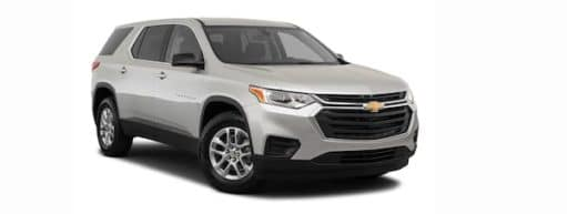 A silver 2021 Chevy Traverse is angled right.