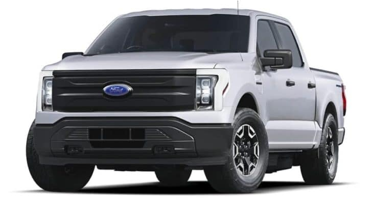 A white 2022 ford F-150 Lightning Pro is shown angled left.
