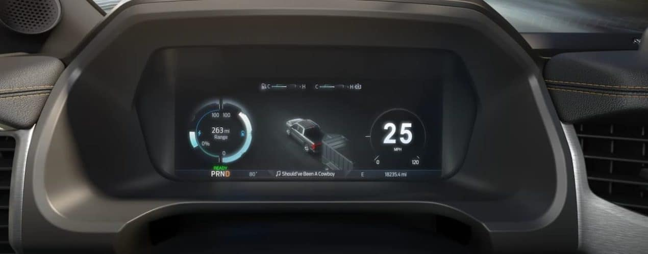 The interior of a 2022 Ford F-150 Lightning shows tech features.