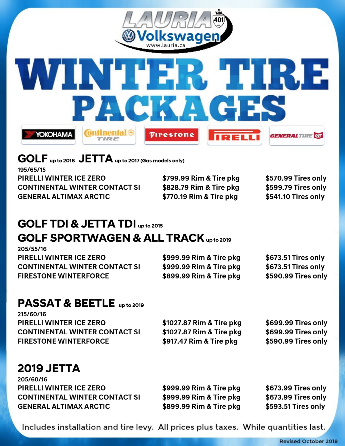 Winter tire packages for VW Golf and VW Jetta, and snow tires for VW Passat and Volkswagen Beetle near Oshawa Ontario