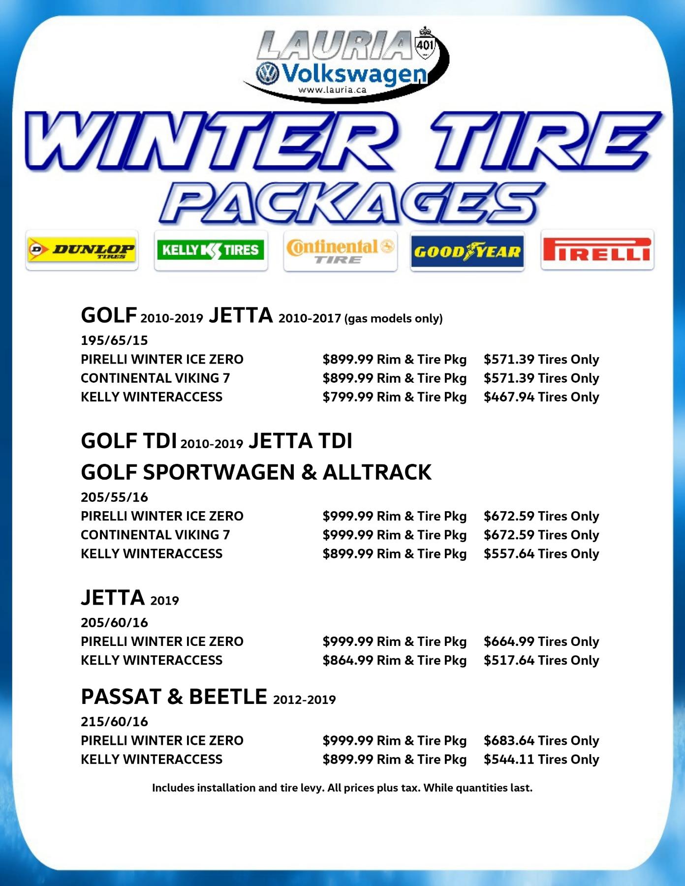 Volkswagen Winter tire packages