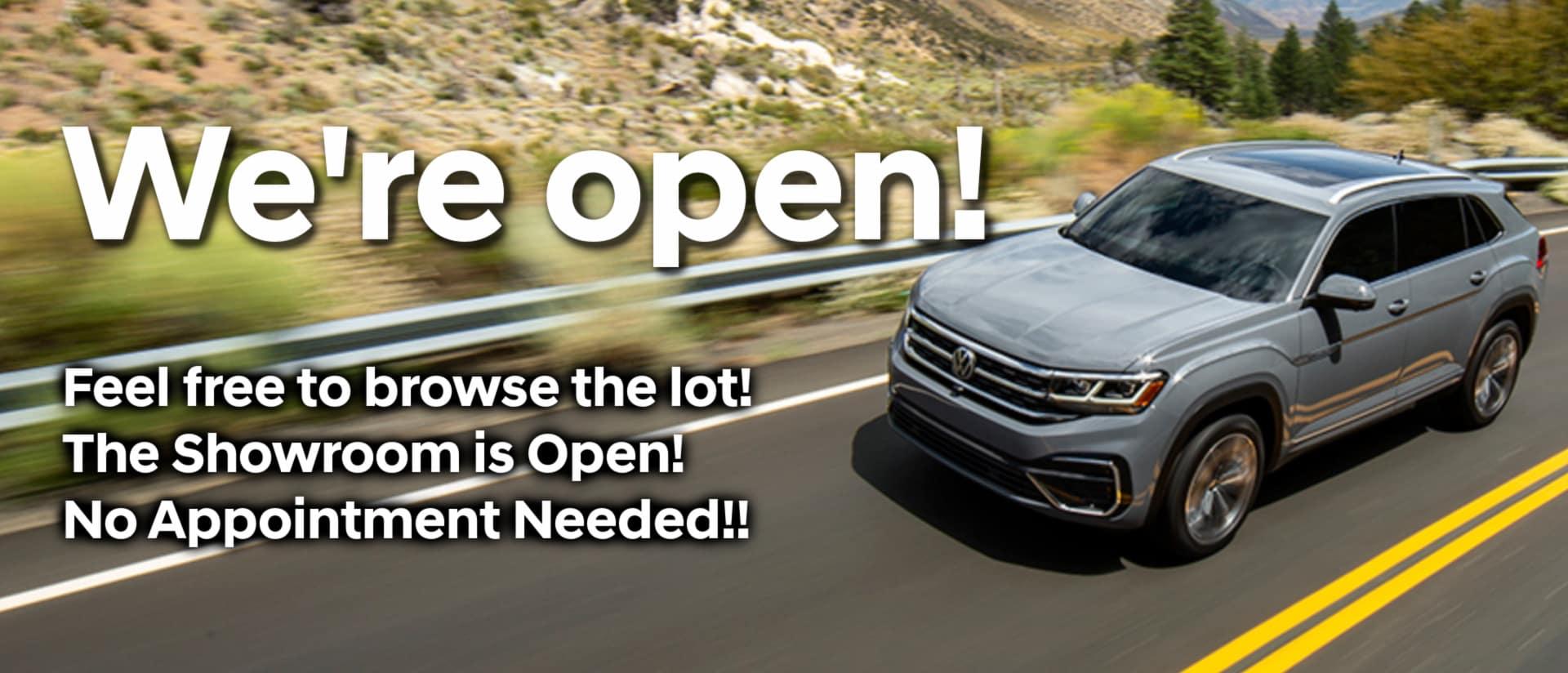 We're Open VW – Desktop