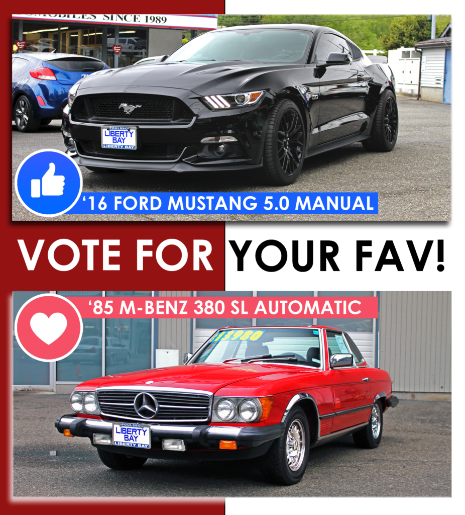 mustang and old mercedes benz